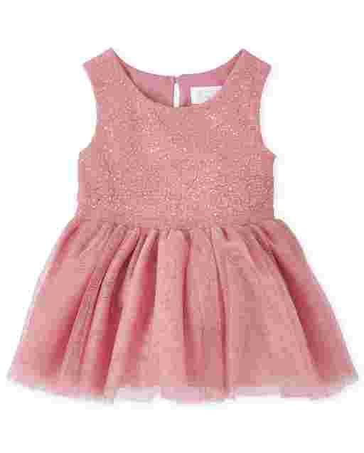 Baby Girls Sleeveless Foil Knit To Woven Dress