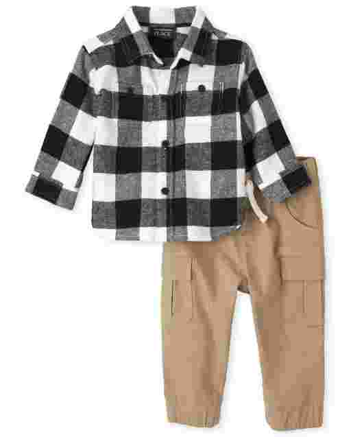 Baby Boys Long Sleeve Buffalo Plaid Flannel Button Down Shirt And Woven Pull On Cargo Jogger Pants Outfit Set