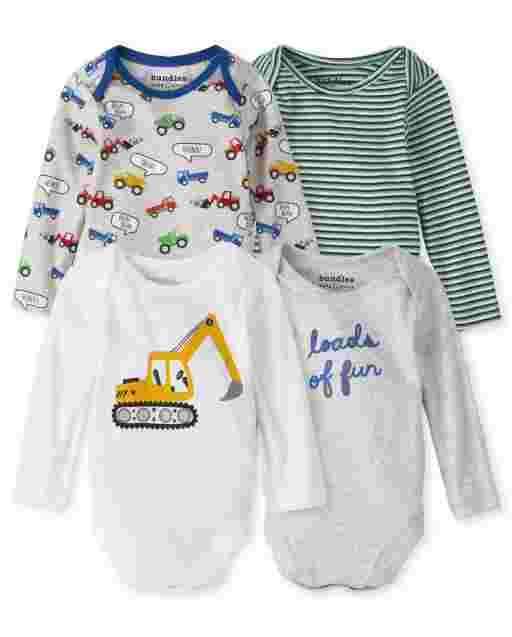 Baby Boys Long Sleeve Transportation Bodysuit 4-Pack