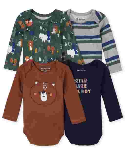 Baby Boys Long Sleeve Forest Bodysuit 4-Pack