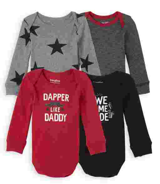 Baby Boys Long Sleeve Dapper Bodysuit 4-Pack