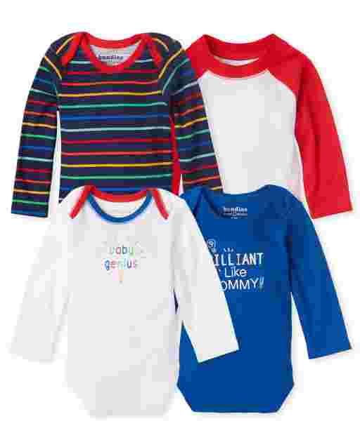 Baby Boys Long Sleeve Genius Bodysuit 4-Pack