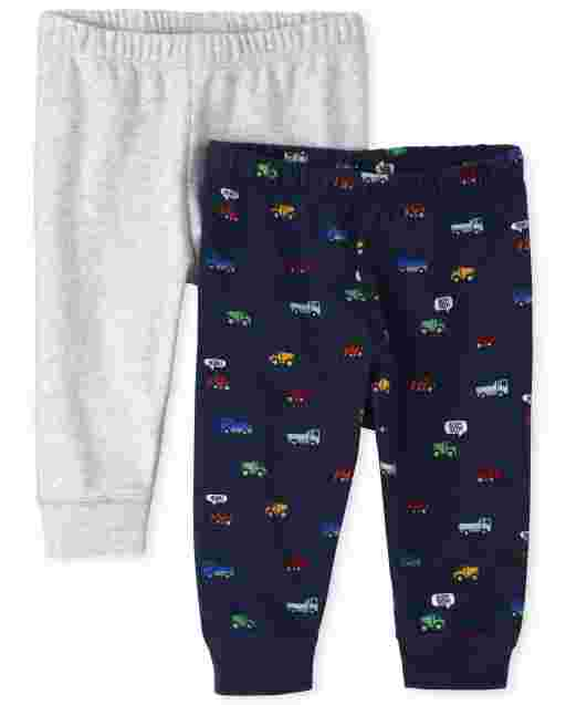 Baby Boys Transportation And Solid Knit Pants 2-Pack