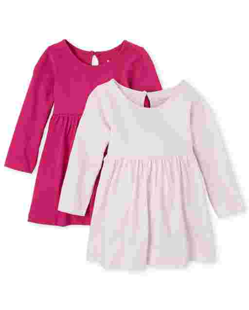Baby Girls Long Sleeve Striped And Solid Bodysuit Dress 2-Pack