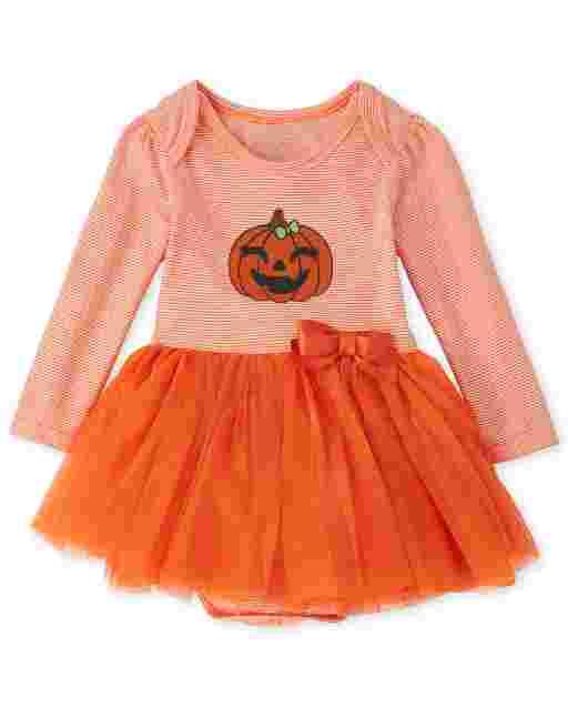 Baby Girls Halloween Long Sleeve Pumpkin Tutu Bodysuit Dress
