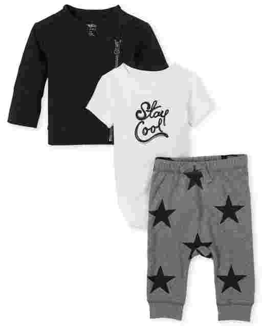 Baby Boys Long Sleeve French Terry Moto Jacket Short Sleeve 'Stay Cool' Bodysuit And Star Print Knit Pants 3-Piece Playwear Set