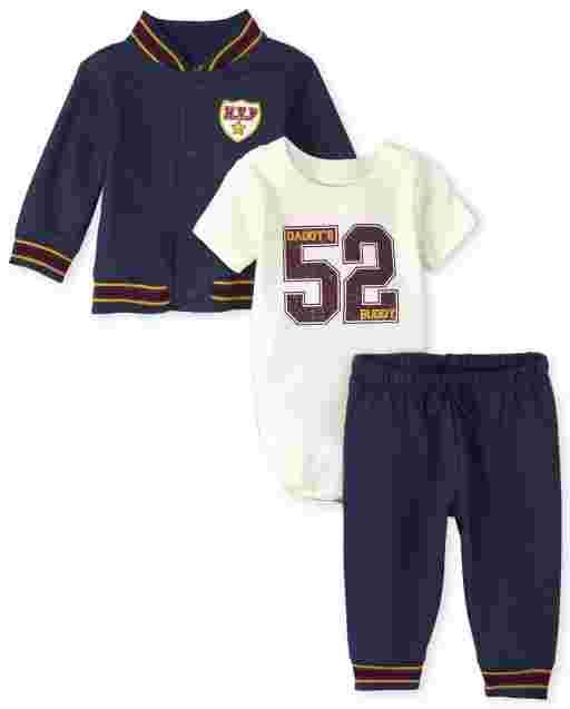 Baby Boys Long Sleeve French Terry Varsity Jacket Short Sleeve '52' Bodysuit And Knit Pants 3-Piece Playwear Set