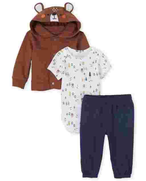 Baby Boys Long Sleeve French Terry Bear Jacket Short Sleeve Forest Print Bodysuit And Knit Pants 3-Piece Playwear Set