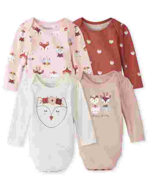 Baby Girls Long Sleeve Owl Bodysuit 4-Pack