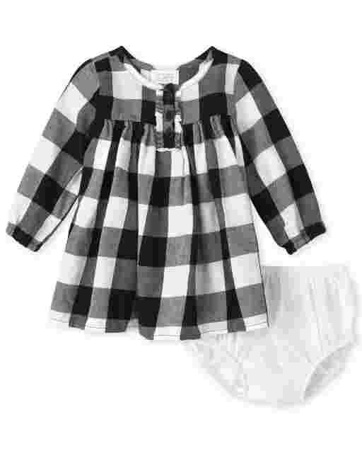 Baby Girls Matching Family Long Sleeve Buffalo Plaid Twill Shirt Dress And Bloomers
