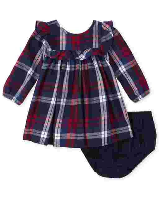 Baby Girls Matching Family Long Sleeve Plaid Twill Shift Dress And Bloomers Set