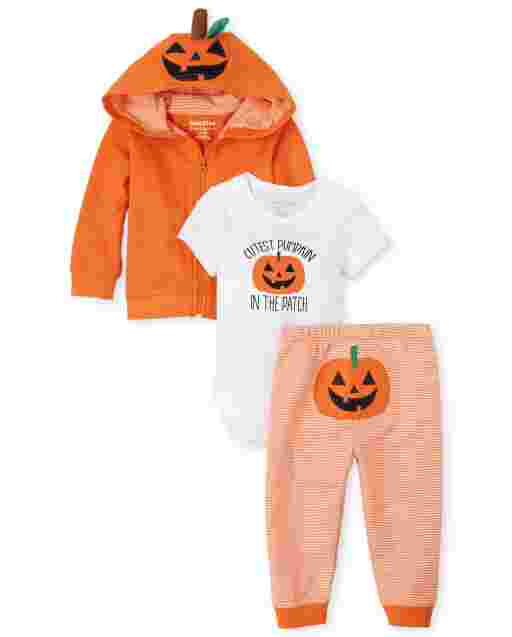 Unisex Baby Halloween Long Sleeve Pumpkin French Terry Zip Up Hoodie Short Sleeve 'Cutest Pumpkin In The Patch' Bodysuit And Striped French Terry Pants 3-Piece Playwear Set