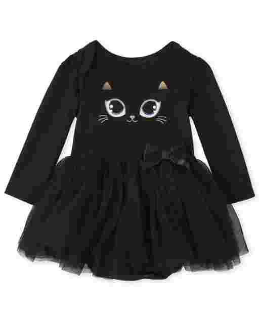Baby Girls Halloween Ling Sleeve Cat Tutu Bodysuit Dress