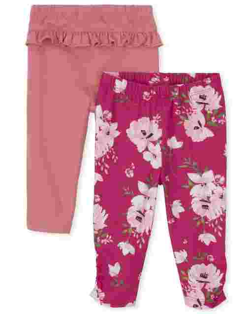 Baby Girls Floral And Ruffle Knit Pants 2-Pack