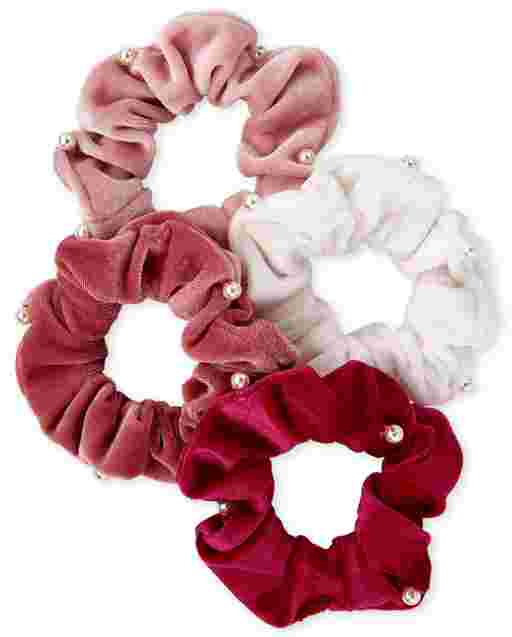 Girls Velvet Scrunchie 4-Pack