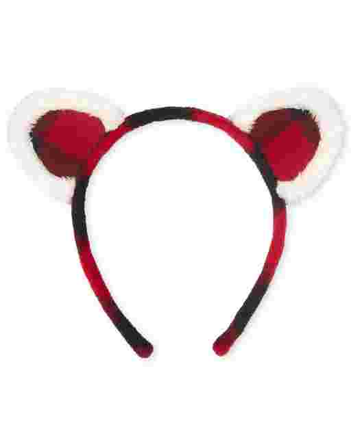 Girls Buffalo Plaid Cat Ears Headband