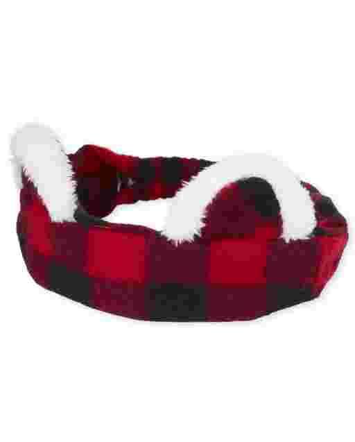 Baby Girls Buffalo Plaid Cat Ears Headwrap