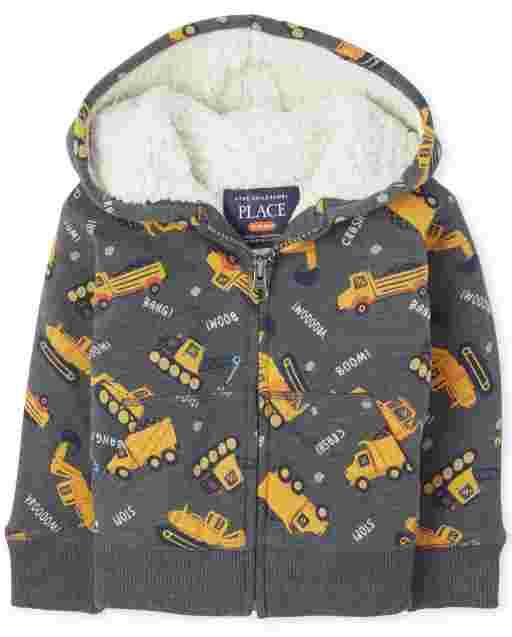 Sudadera con capucha y cremallera Sherpa estampada de manga larga para niños pequeños