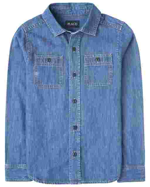 Boys Dad And Me Long Sleeve Denim Matching Button Down Shirt