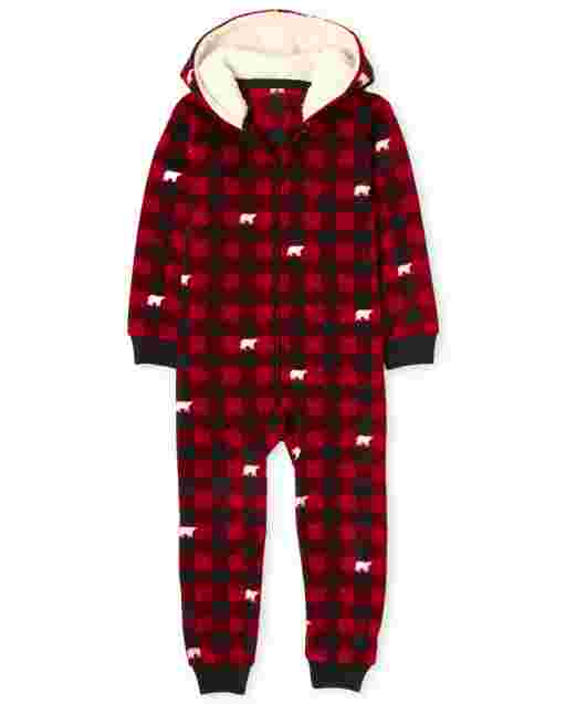 Unisex Kids Matching Family Christmas Bear Buffalo Plaid Fleece Hooded One Piece Pajamas