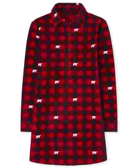 Camisón de lana a cuadros con diseño de búfalo y manga larga de Navidad familiar a juego para mujer