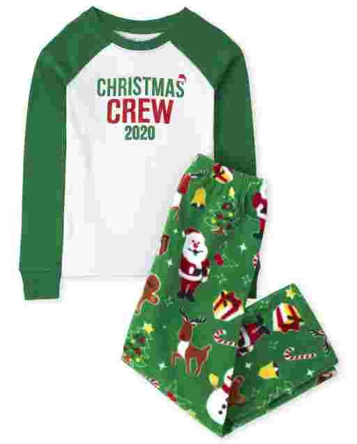 Unisex Kids Matching Family Christmas Long Raglan Sleeve Christmas Crew Snug Fit Cotton Top And Fleece Pants Pajamas