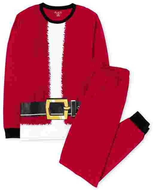 Unisex Adult Matching Family Kids Christmas Long Sleeve Santa Suit Cotton Pajamas