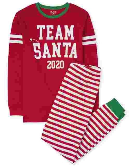 Unisex Adult Matching Family Christmas Long Sleeve Team Santa Cotton Pajamas