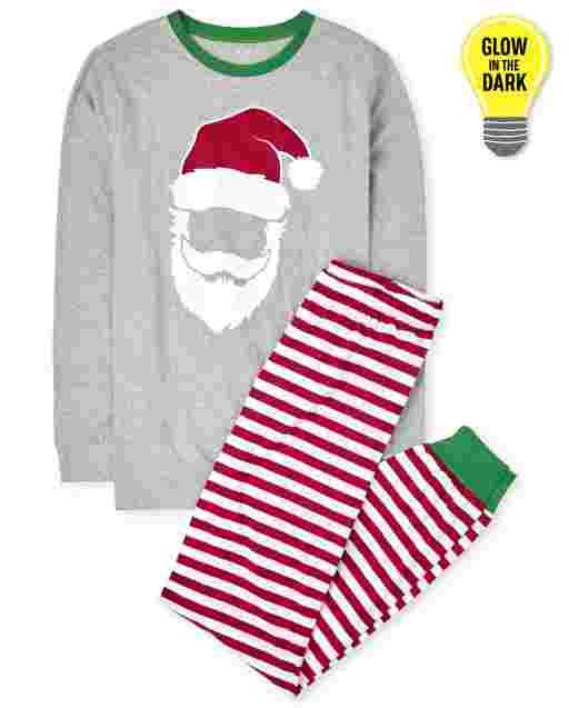 Unisex Adult Matching Family Christmas Long Sleeve Glow In The Dark Santa Striped Cotton Pajamas