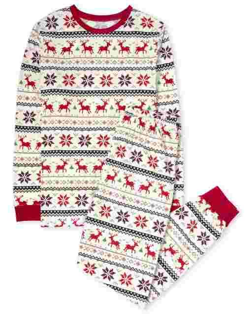 Unisex Adult Matching Family Christmas Long Sleeve Reindeer Fairisle Cotton Pajamas