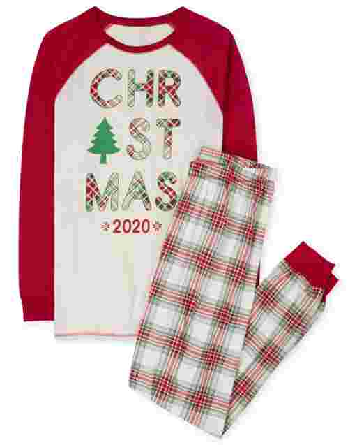 Unisex Adult Matching Family Christmas Long Raglan Sleeve Christmas Tartan Cotton Pajamas