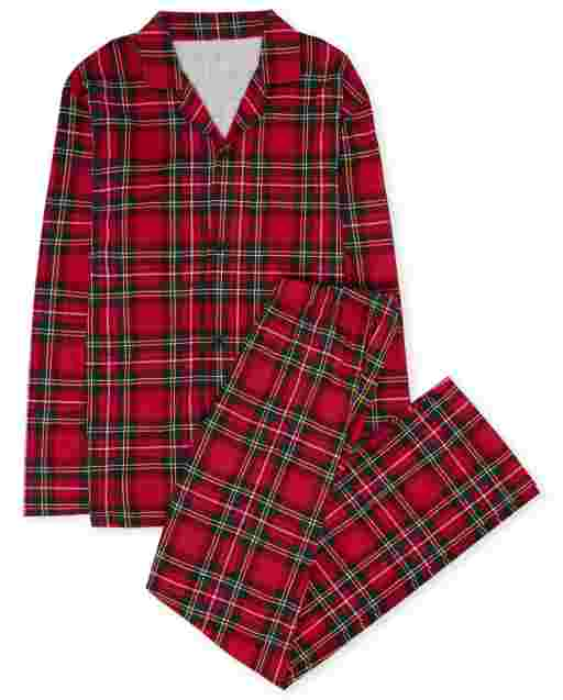 Unisex Adult Matching Family Long Sleeve Family Tartan Cotton Pajamas