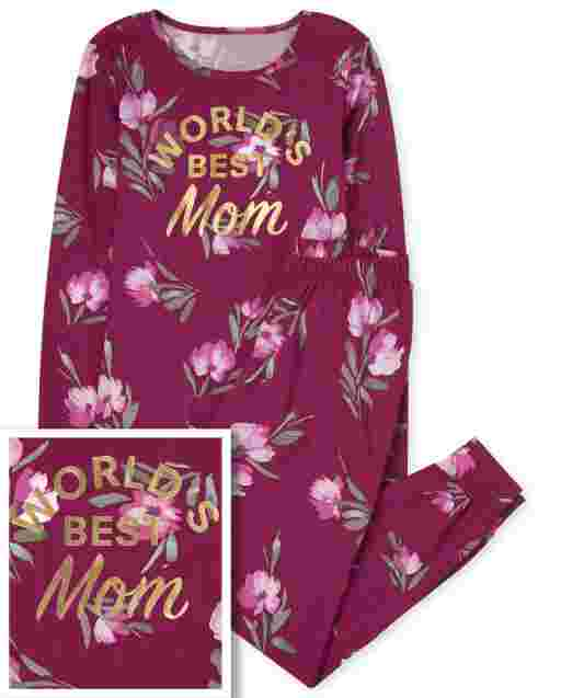 Womens Mommy And Me Long Sleeve Foil 'World's Best Mother' Floral Print Matching Cotton Pajamas