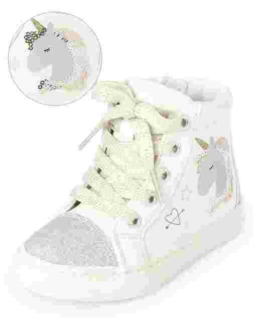 Toddler Girls Unicorn Hi Top Sneakers