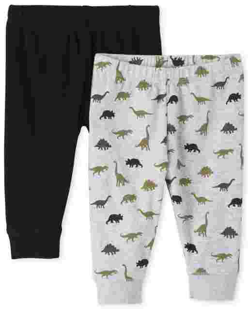 Baby Boys Dino And Solid Knit Pants 2-Pack