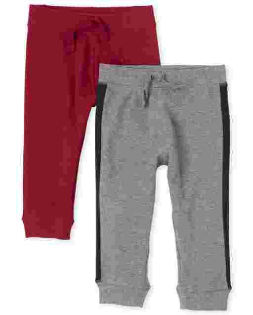 Baby Boys Side Stripe Knit Pants 2-Pack