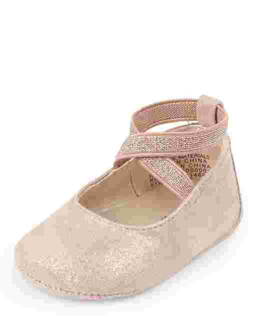 Baby Girls Rose Gold Wrap Ballet Flats