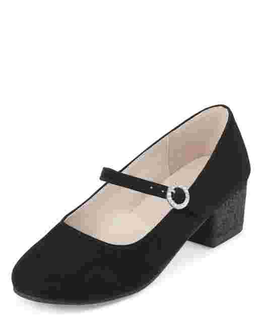Girls Faux Suede Glitter Heel Shoes