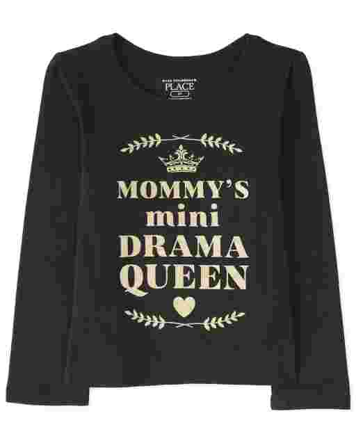 Baby And Toddler Girls Long Sleeve Glitter 'Mommy's Mini Drama Queen' Graphic Tee