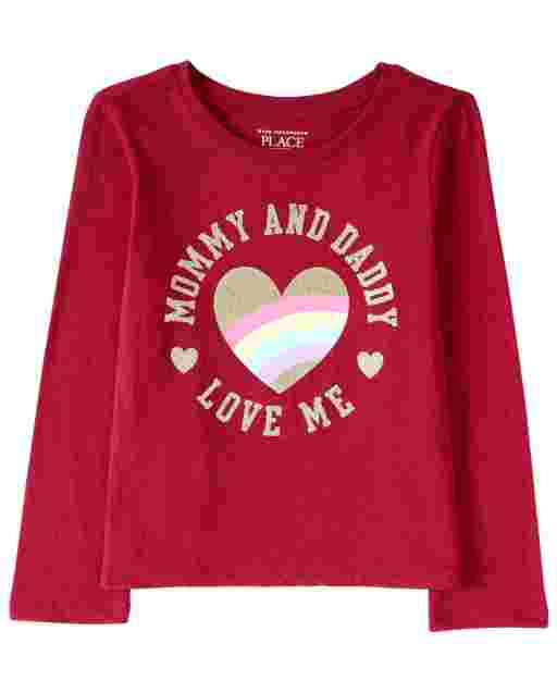 Baby And Toddler Girls Long Sleeve Glitter 'Mommy And Daddy Love Me' Graphic Tee