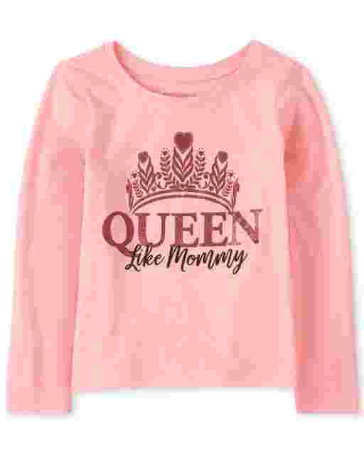 Baby And Toddler Girls Long Sleeve Glitter 'Queen Like Mommy' Graphic Tee