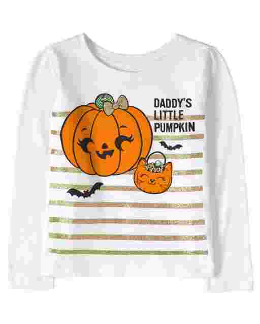 Baby And Toddler Girls Halloween Long Sleeve 'Daddy's Little Pumpkin' Graphic Tee