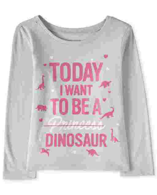 Baby And Toddler Girls Long Sleeve 'Today I Want To Be A Princess Dinosaur' Graphic Tee