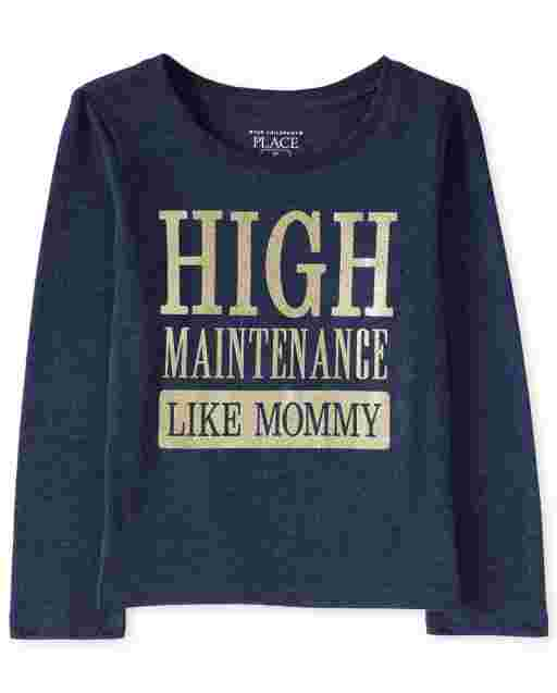 Baby And Toddler Girls Long Sleeve Glitter 'High Maintenance Like Mommy' Graphic Tee
