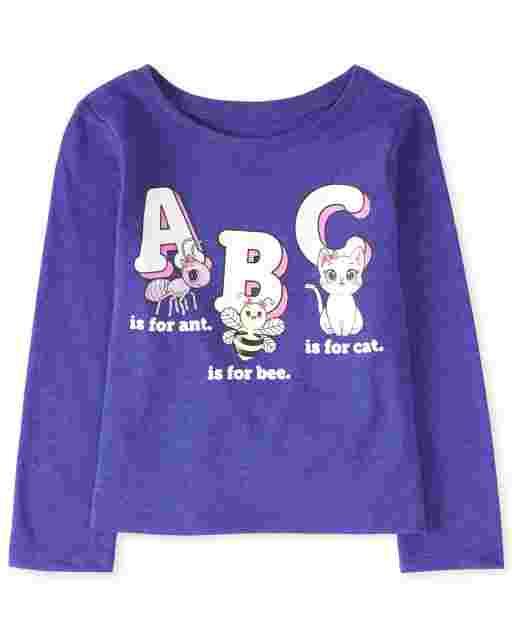 Camiseta estampada ' ABC ' manga larga para bebés y niñas pequeñas