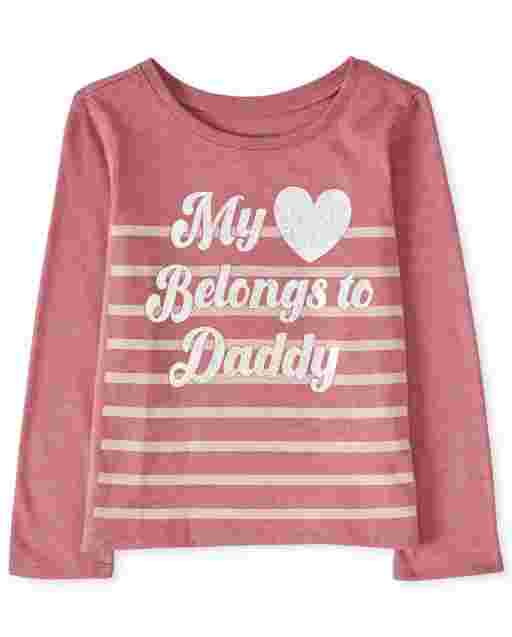 Baby And Toddler Girls Long Sleeve 'My Heart Belongs To Daddy' Graphic Tee