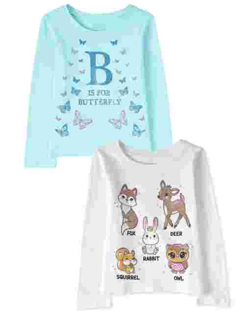 Baby And Toddler Girls Long Sleeve Animal Graphic Tee 2-Pack