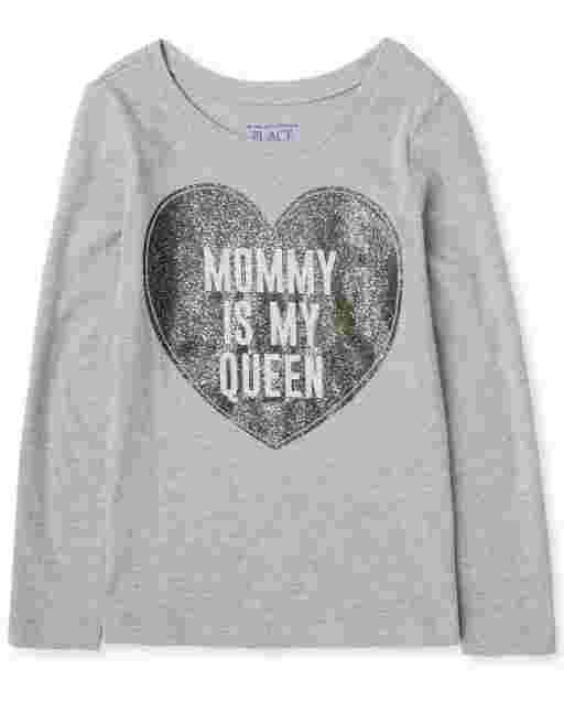 Toddler Girls Long Sleeve 'Mommy Is My Queen' Heart Graphic Tee