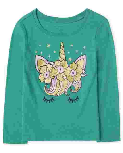 Toddler Girls Long Sleeve Unicorn Face Graphic Tee