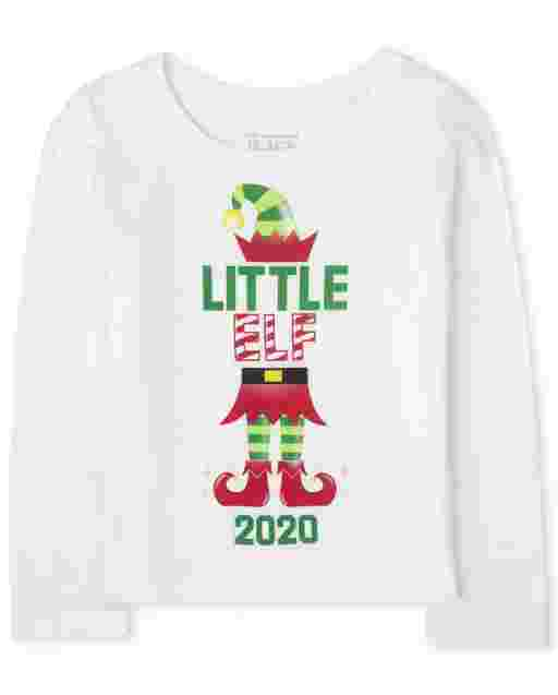Baby And Toddler Girls Matching Family Christmas Long Sleeve 'Elf 2020' Graphic Tee